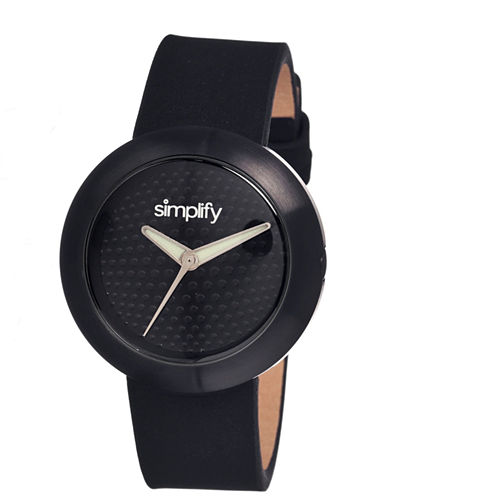 Simplify Unisex The 1200 Black Leather-Band Watch Sim1207