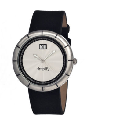 jcpenney.com | Simplify Mens The 1300 Silver Dial Leather-Band Watch With Date Sim1301