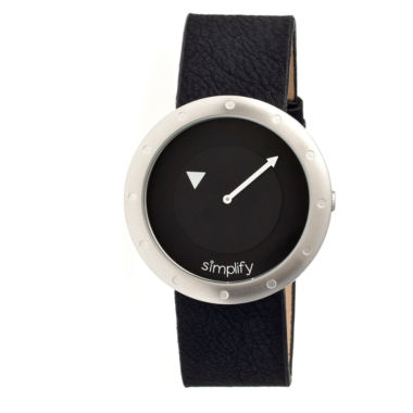 jcpenney.com | Simplify Unisex The 2200 Black Dial Black Leather-Band Watch SIM2202
