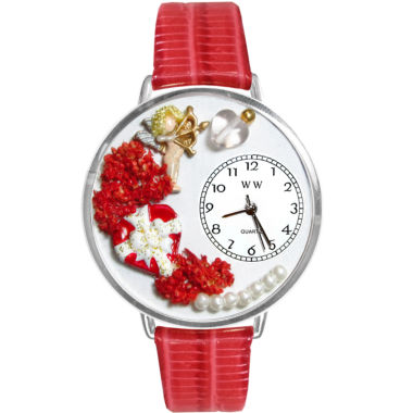 jcpenney.com | Whimsical Watches Personalized Valentine's Day Womens Silver-Tone Bezel Red Leather Strap Watch