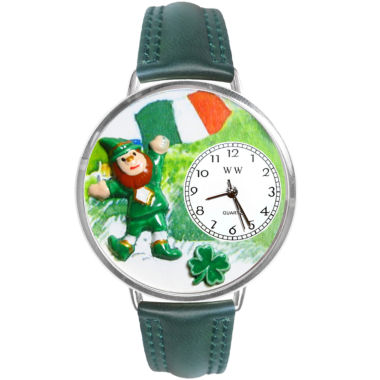 jcpenney.com | Whimsical Watches Personalized St. Patrick's Day Womens Silver-Tone Bezel Green Leather Strap Watch