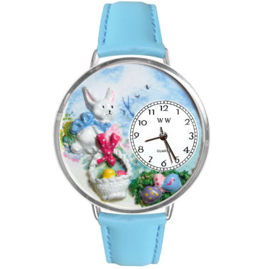 jcpenney.com | Whimsical Watches Personalized Easter Egg Womens Silver-Tone Bezel Light Blue Leather Strap Watch