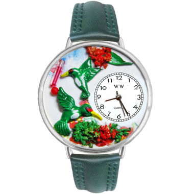 jcpenney.com | Whimsical Watches Personalized Hummingbird Womens Silver-Tone Bezel Green Leather Strap Watch
