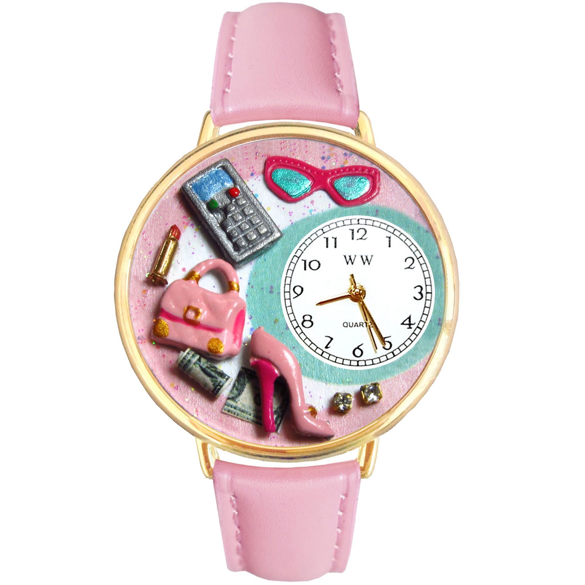 Whimsical Watches Personalized Shopper Mom Womens Gold-Tone Bezel Pink Leather Strap Watch