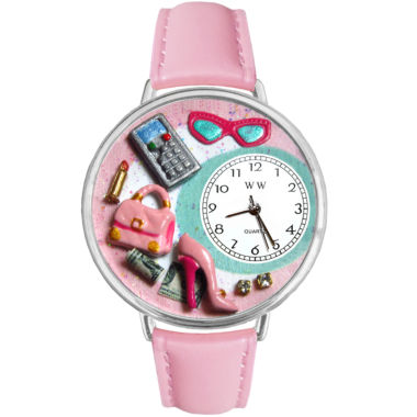 jcpenney.com | Whimsical Watches Personalized Shopper Mom Womens Silver-Tone Bezel Pink Leather Strap Watch