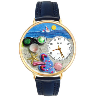 jcpenney.com | Whimsical Watches Personalized Flip-Flop Womens Gold-Tone Bezel Blue Leather Strap Watch