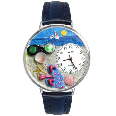 jcpenney.com | Whimsical Watches Personalized Flip-Flop Womens Silver-Tone Bezel Blue Leather Strap Watch
