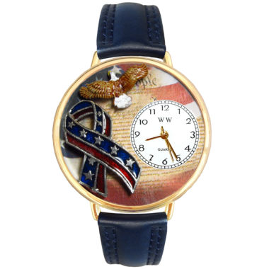 jcpenney.com | Whimsical Watches Personalized America Patriotic Womens Gold-Tone Bezel Blue Leather Strap Watch