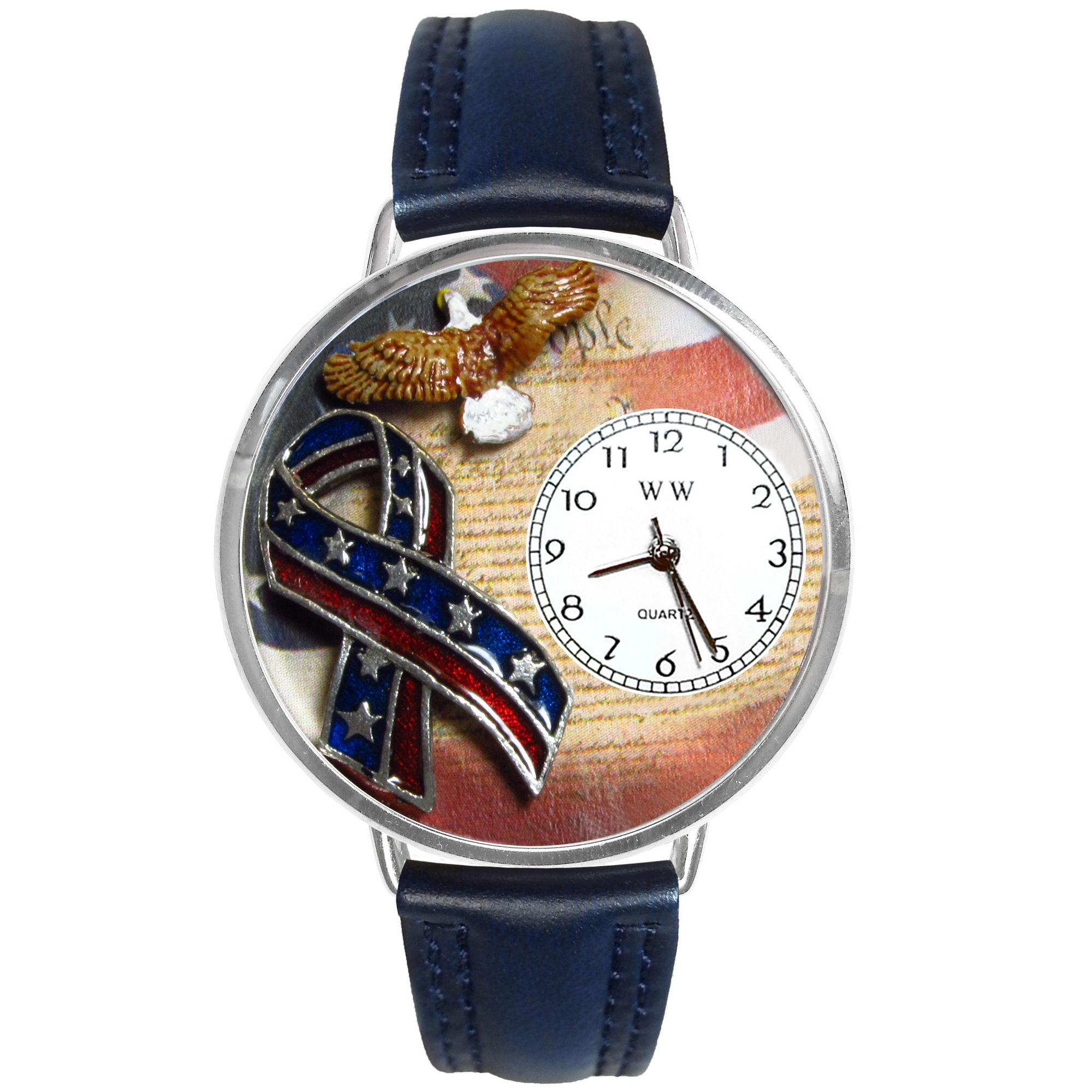 Whimsical Watches Personalized America Patriotic Womens Silver-Tone Bezel Blue Leather Strap Watch