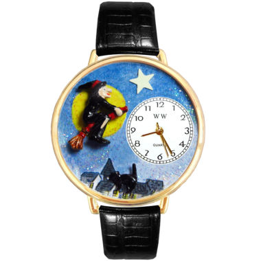 jcpenney.com | Whimsical Watches Personalized Halloween Witch Womens Gold-Tone Bezel Black Leather Strap Watch