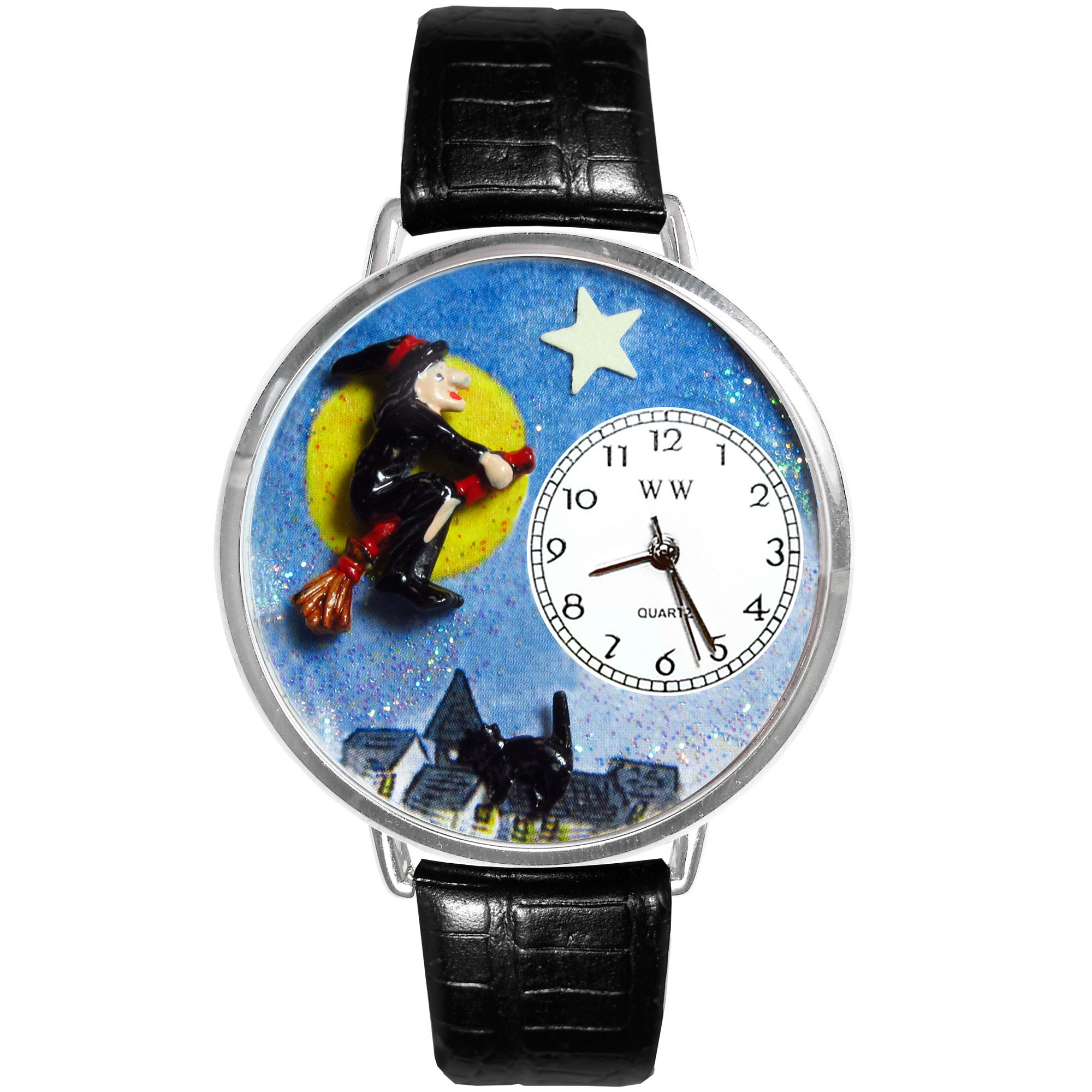 Whimsical Watches Personalized Halloween Witch Womens Silver-Tone Bezel Black Leather Strap Watch