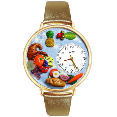 jcpenney.com | Whimsical Watches Personalized Holiday Feast Womens Gold-Tone Bezel Tan Leather Strap Watch