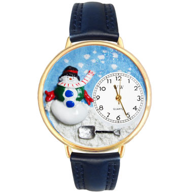 jcpenney.com | Whimsical Watches Personalized Holiday Snowman Womens Gold-Tone Bezel Blue Leather Strap Watch