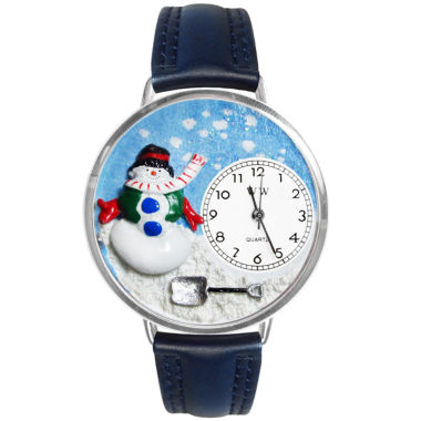 jcpenney.com | Whimsical Watches Personalized Holiday Snowman Womens Silver-Tone Bezel Blue Leather Strap Watch