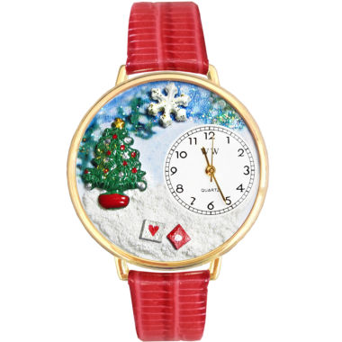 jcpenney.com | Whimsical Watches Personalized Christmas Tree Womens Gold-Tone Bezel Red Leather Strap Watch