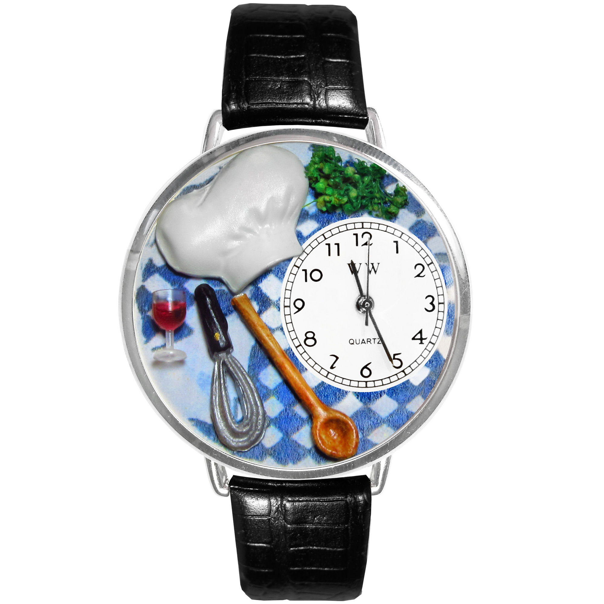 Whimsical Watches Personalized Chef Womens Silver-Tone Bezel Black Leather Strap Watch