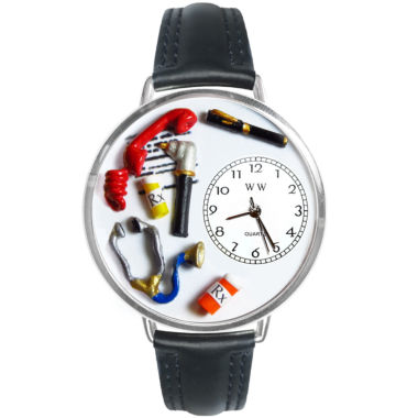 jcpenney.com | Whimsical Watches Personalized Doctor Womens Silver-Tone Bezel Black Leather Strap Watch
