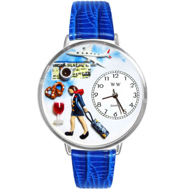 jcpenney.com | Whimsical Watches Personalized Flight Attendant Womens Silver-Tone Bezel Blue Leather Strap Watch