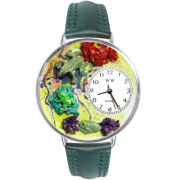 Whimsical Watches Personalized Frogs Silver-Tone Bezel Green Leather Strap Watch