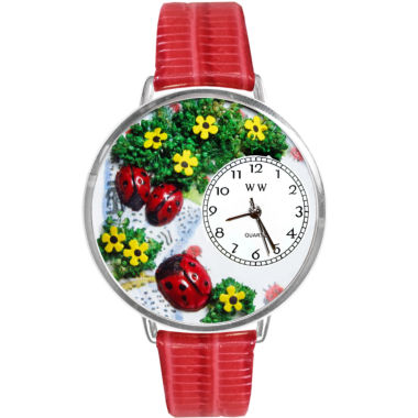 jcpenney.com | Whimsical Watches Personalized Ladybug Womens Silver-Tone Bezel Red Leather Strap Watch