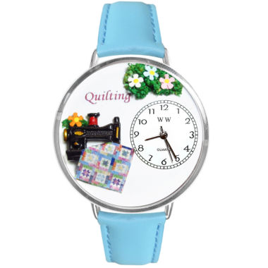 jcpenney.com | Whimsical Watches Personalized Quilt Womens Silver-Tone Bezel Light Blue Leather Strap Watch