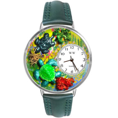 jcpenney.com | Whimsical Watches Personalized Turtle Womens Silver–Tone Bezel Green Leather Strap Watch
