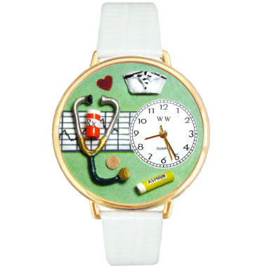 jcpenney.com | Whimsical Watches Personalized Nurse Womens Gold-Tone Bezel White Leather Strap Watch