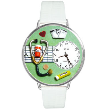 jcpenney.com | Whimsical Watches Personalized Nurse Womens Silver-Tone Bezel White Leather Strap Watch