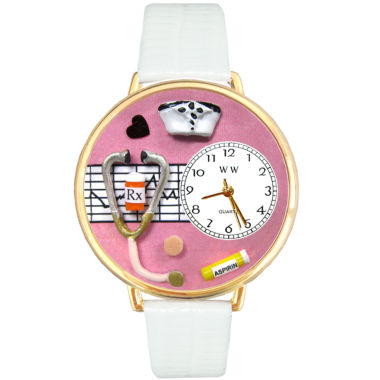 jcpenney.com | Whimsical Watches Personalized Nurse Womens Gold–Tone Bezel White Leather Strap Watch