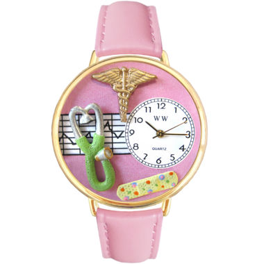 jcpenney.com | Whimsical Watches Personalized Nurse Womens Gold–Tone Bezel Pink Leather Strap Watch