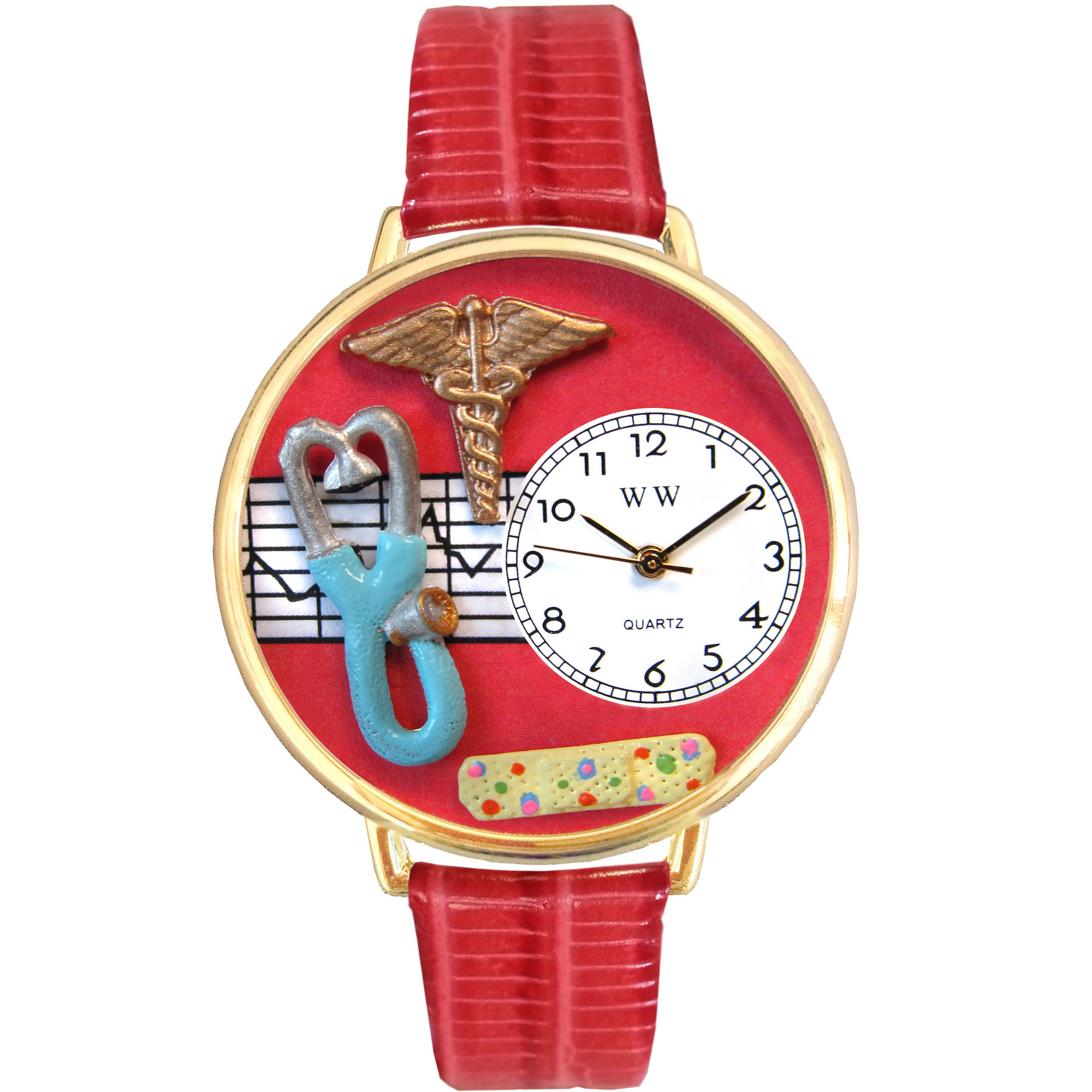 Whimsical Watches Personalized Nurse Womens Gold-Tone Bezel Red Leather Strap Watch