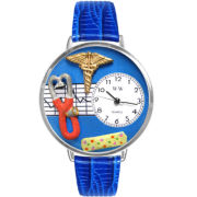 Whimsical Watches Personalized Nurse Womens Silver–Tone Bezel Blue Leather Strap Watch