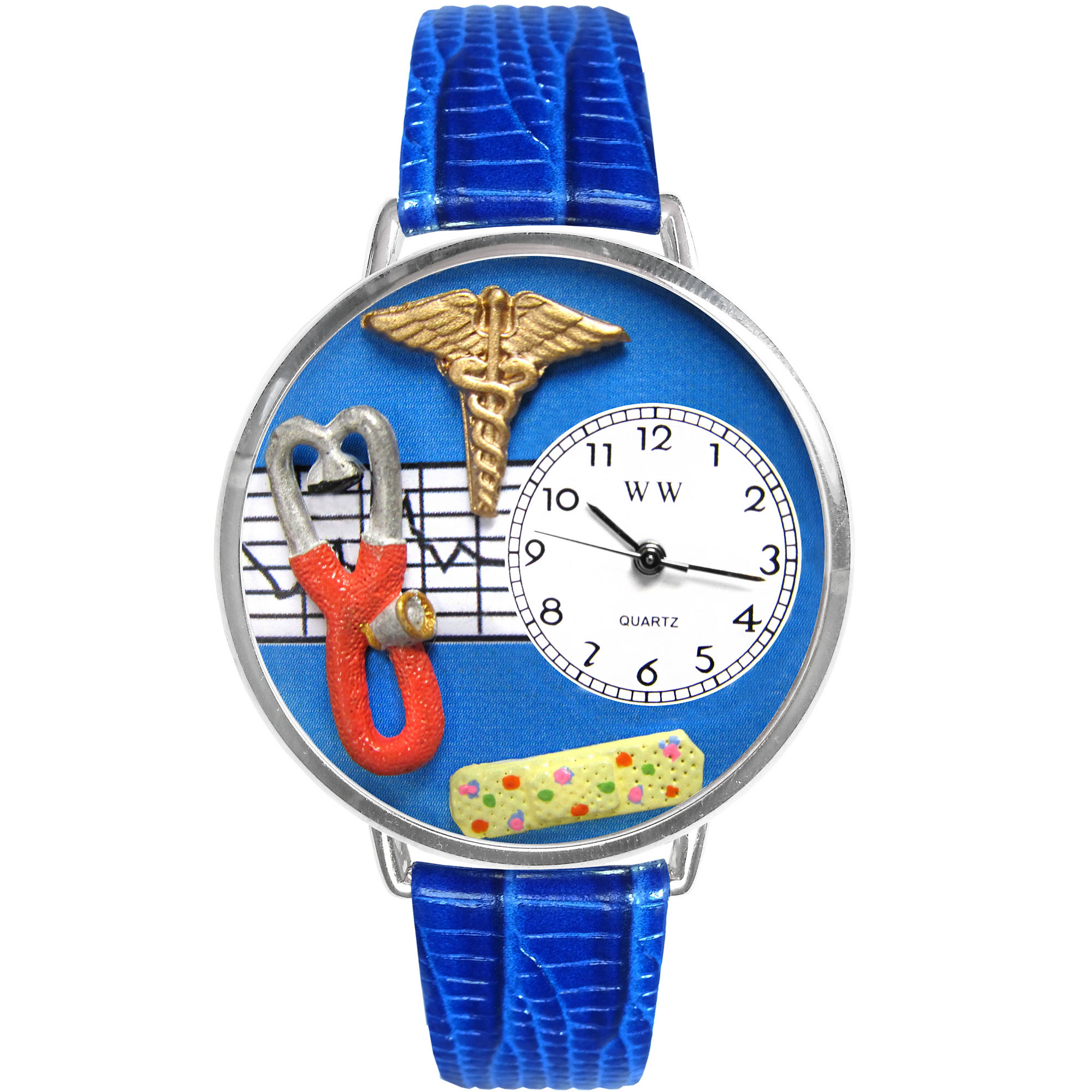 Whimsical Watches Personalized Nurse Womens Silver-Tone Bezel Blue Leather Strap Watch