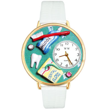 jcpenney.com | Whimsical Watches Personalized Dental Assistant Womens Gold–Tone Bezel White Leather Strap Watch
