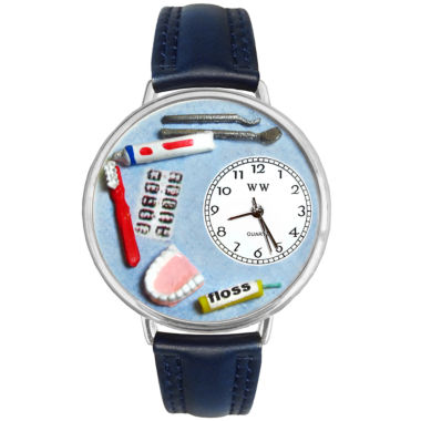 jcpenney.com | Whimsical Watches Personalized Dentist Womens Silver–Tone Bezel Blue Leather Strap Watch