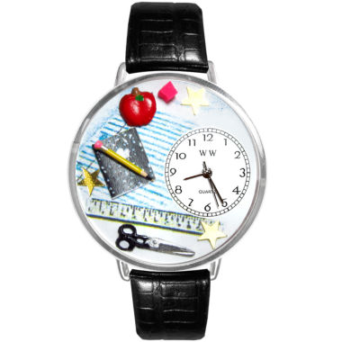 jcpenney.com | Whimsical Watches Personalized Teacher Womens Silver–Tone Bezel Black Leather Strap Watch