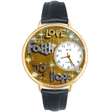 jcpenney.com | Whimsical Watches Personalized Faith and Love Womens Gold–Tone Bezel Black Leather Strap Watch