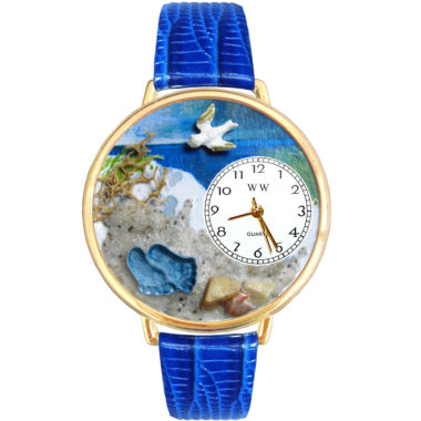 jcpenney.com | Whimsical Watches Personalized Footprints Womens Gold–Tone Bezel Blue Leather Strap Watch