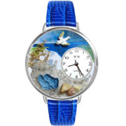 Whimsical Watches Personalized Footprints Womens Silver–Tone Bezel Blue Leather Strap Watch
