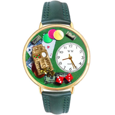 jcpenney.com | Whimsical Watches Personalized Casino Womens Gold–Tone Bezel Green Leather Strap Watch