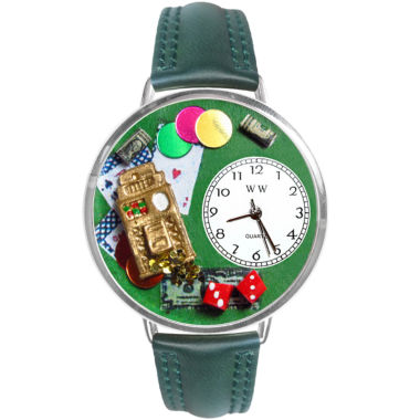 jcpenney.com | Whimsical Watches Personalized Casino Womens Silver–Tone Bezel Green Leather Strap Watch