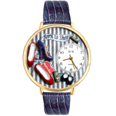 jcpenney.com | Whimsical Watches Personalized Shoe Lover Womens Gold–Tone Bezel Purple Leather Strap Watch