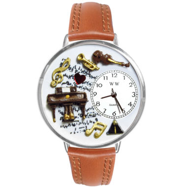 jcpenney.com | Whimsical Watches Personalized Piano Music Womens Silver–Tone Bezel Tan Leather Strap Watch