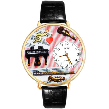 jcpenney.com | Whimsical Watches Personalized Music Teacher Womens Gold-Tone Bezel Black Leather Strap Watch