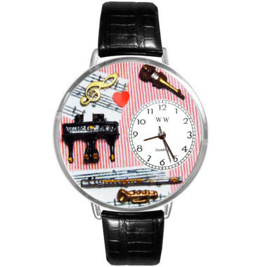 jcpenney.com | Whimsical Watches Personalized Music Teacher Womens Silver-Tone Bezel Black Leather Strap Watch