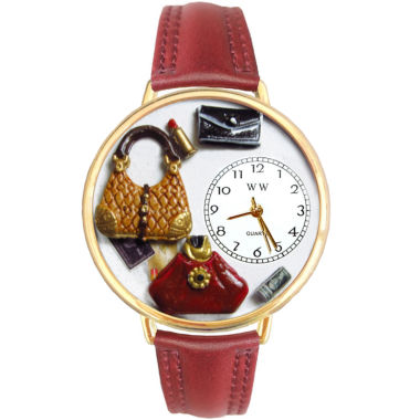 jcpenney.com | Whimsical Watches Personalized Purse Lover Womens Gold-Tone Bezel Red Leather Strap Watch