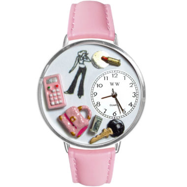 jcpenney.com | Whimsical Watches Personalized Teen Girl Womens Silver-Tone Bezel Pink Leather Strap Watch