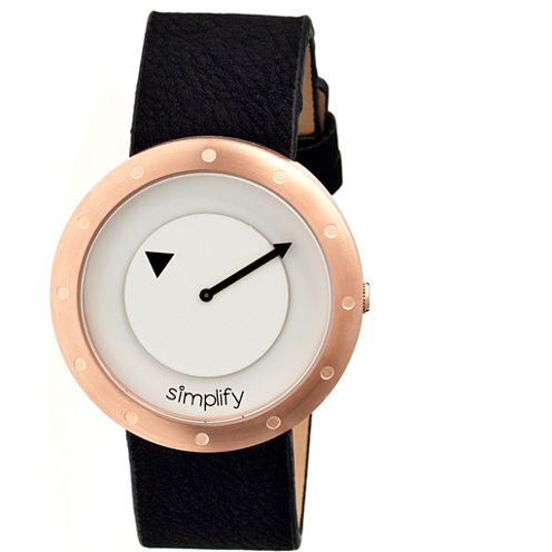 Simplify Unisex The 2200 Rose Gold and Silver Dial Black Leather-Band Watch SIM2207