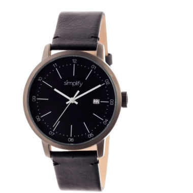 jcpenney.com | Simplify Mens The 2500 Black Dial Leather-Band Watch with Date SIM2502