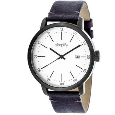 jcpenney.com | Simplify Mens The 2500 White Dial Leather-Band Watch with Date SIM2503